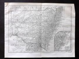 Encyclopaedia Britannica 1911 Antique Map. New South Wales. Australia